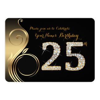 25ème, invitation d'anniversaire, diamant de