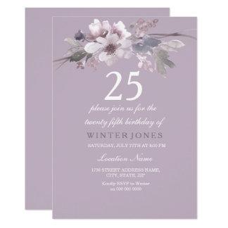 25ème invitation floral pourpre élégant de fête