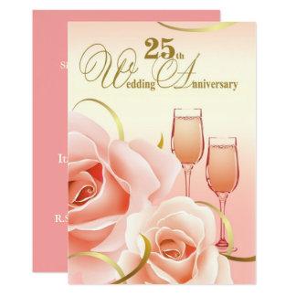 25ème Invitations de fête d'anniversaire de noces