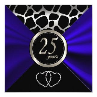 25ème Motif de girafe de l'anniversaire de noces Carton D'invitation 13,33 Cm