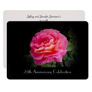 25ème Rose de rose de l'invitation une de fête Carton D'invitation 12,7 Cm X 17,78 Cm