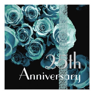 25ème Roses de BLEU d'AQUA d'invitation Carton D'invitation 13,33 Cm