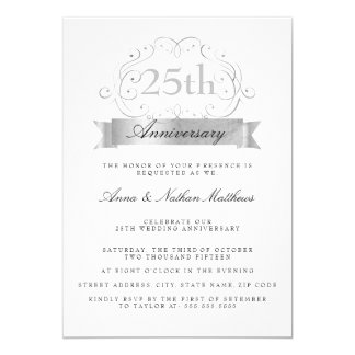 25èmes invitations d'anniversaire de noces