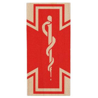 2,0 Symbole vigilant médical d'entraînement Clé USB 2.0 En Bois