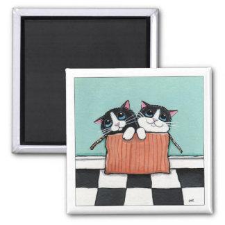 2 chats de smoking dans un aimant d'art de chat de