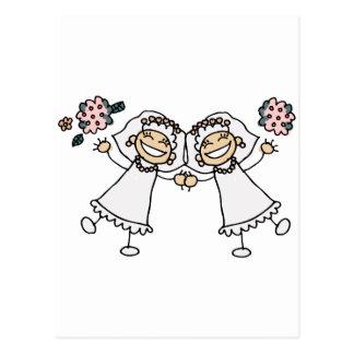 2 jeunes mariées carte postale