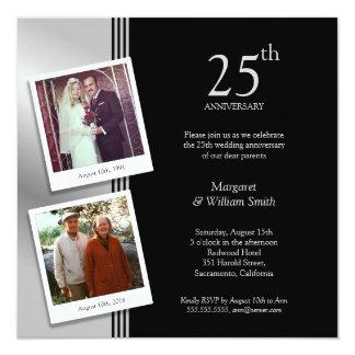 2 photos argentent la 25ème fête d'anniversaire de carton d'invitation  13,33 cm