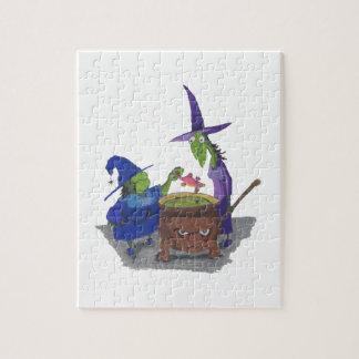2 sorcières brassant vers le haut du breuvage puzzle