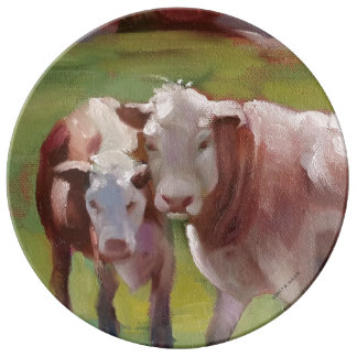 2 vaches dans un plat de paysage assiette en porcelaine