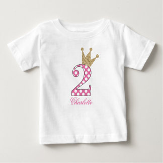2ème Birthday|Polka Dots|Glitter-Print T-shirt Pour Bébé