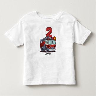 2ème Camion de pompiers d'anniversaire T-shirt Pour Les Tous Petits