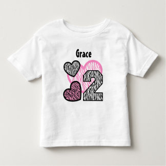 2ème Coeurs de zèbre d'anniversaire deux ans 13 T-shirt Pour Les Tous Petits