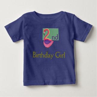 2ème Fille d'anniversaire avec un flamant rose T-shirt Pour Bébé