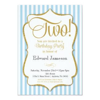 2ème Garçons d'invitation d'anniversaire deux ans Carton D'invitation 12,7 Cm X 17,78 Cm