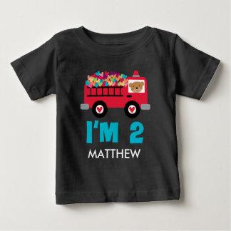 2ème Pompier de Firetruck d'anniversaire chemise T-shirt Pour Bébé