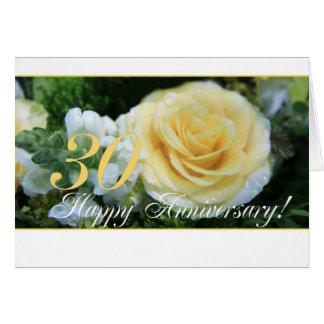 30ème Anniversaire de mariage - rose jaune Carte De Vœux