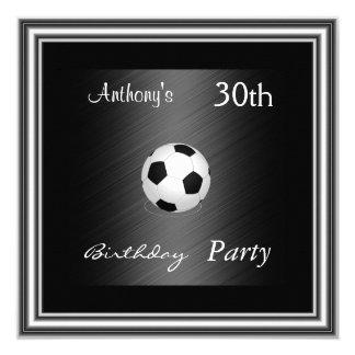 30ème argent de fête d'anniversaire du football carton d'invitation  13,33 cm