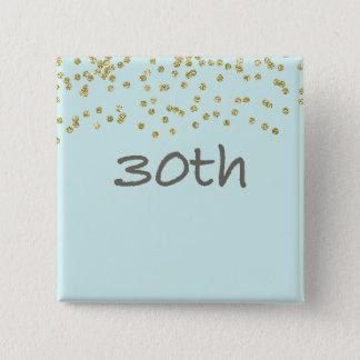 30ème Confettis d'anniversaire Badge Carré 5 Cm