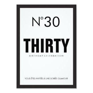 30ème fête d'anniversaire de thème noir et blanc carton d'invitation  12,7 cm x 17,78 cm