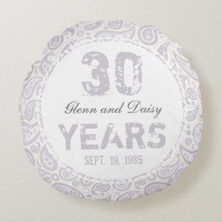 30ème Motif de Paisley d'anniversaire de mariage Coussins Ronds