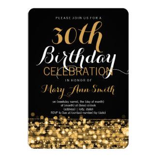 30ème or élégant d'étincelles de fête carton d'invitation  12,7 cm x 17,78 cm