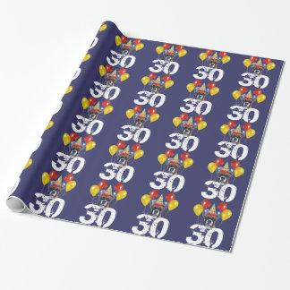 30ème Papier bleu d'emballage cadeau de chien de Papiers Cadeaux Noël