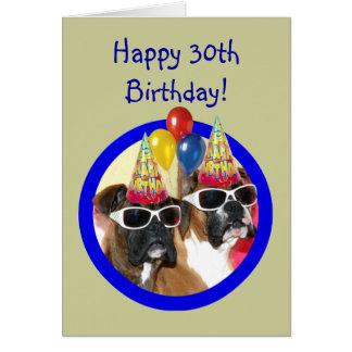 30èmes chiens heureux de boxeur d'anniversaire carte de vœux