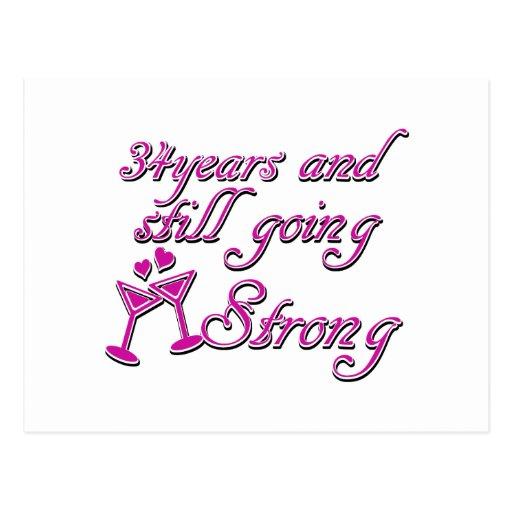 34ste huwelijksverjaardag wenskaarten