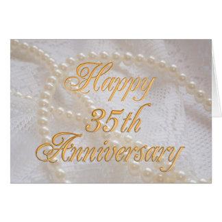 35ste huwelijksverjaardag met kant en parels wenskaart