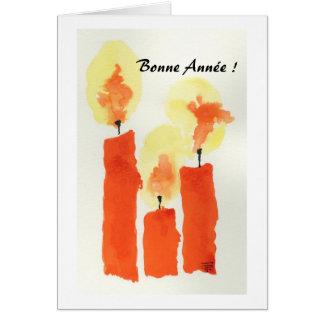 3 bougies, Bonne Année ! Carte De Vœux