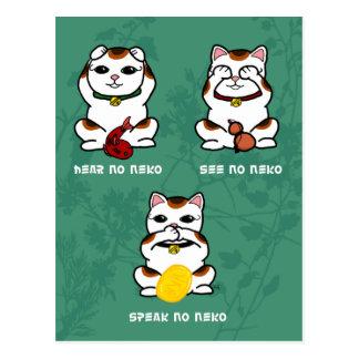 3 carte postale sage et chanceuse de Neko