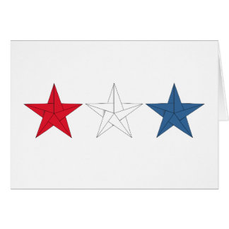3 étoiles d'origami - rouges, blanches, et bleu carte