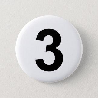 3 - numéro trois badge rond 5 cm
