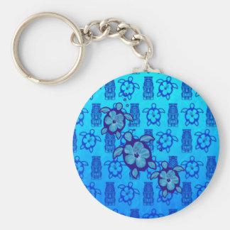 3 tortues bleues de Honu Porte-clé Rond