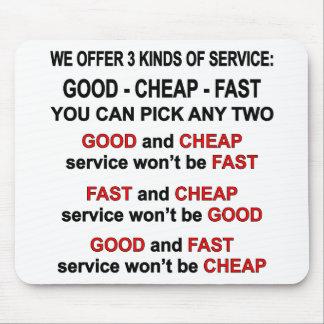 3 types service bons, sélection bon marché et tapis de souris