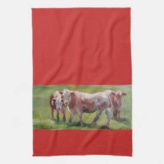 3 vaches dans un paysage linge de cuisine
