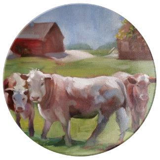 3 vaches dans un plat de porcelaine de paysage assiette en porcelaine