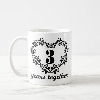 3ème Anniversaire 3 ans ensemble de coeur de tasse