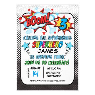 3ème invitation de fête d'anniversaire de super
