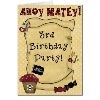 3ème Invitations d'anniversaire de pirate