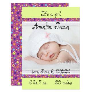 3x5 faire-part nouveau-né pourpre/jaune de bébé
