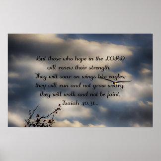 40:31 d'Isaïe de vers de bible Poster