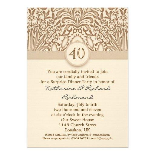 40 jaar vintage bruin van de huwelijksverjaardag n persoonlijke aankondigingen