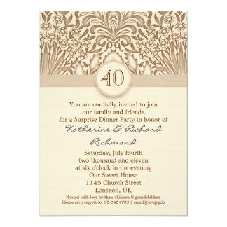 40 jaar vintage bruin van de huwelijksverjaardag 11,4x15,9 uitnodiging kaart