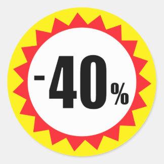 40 pour cent de vente de remise de jaune blanc sticker rond