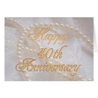 40ste huwelijksverjaardag met kant en parels wenskaart