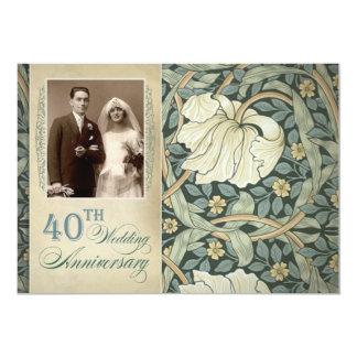 40ste huwelijksverjaardag met lelie en foto 12,7x17,8 uitnodiging kaart