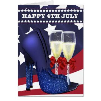 4 juillet carte de voeux avec les chaussures et le