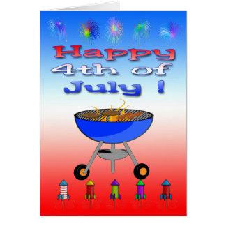 4 juillet carte de voeux heureuse de barbecue