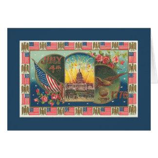 4 juillet carte patriotique vintage